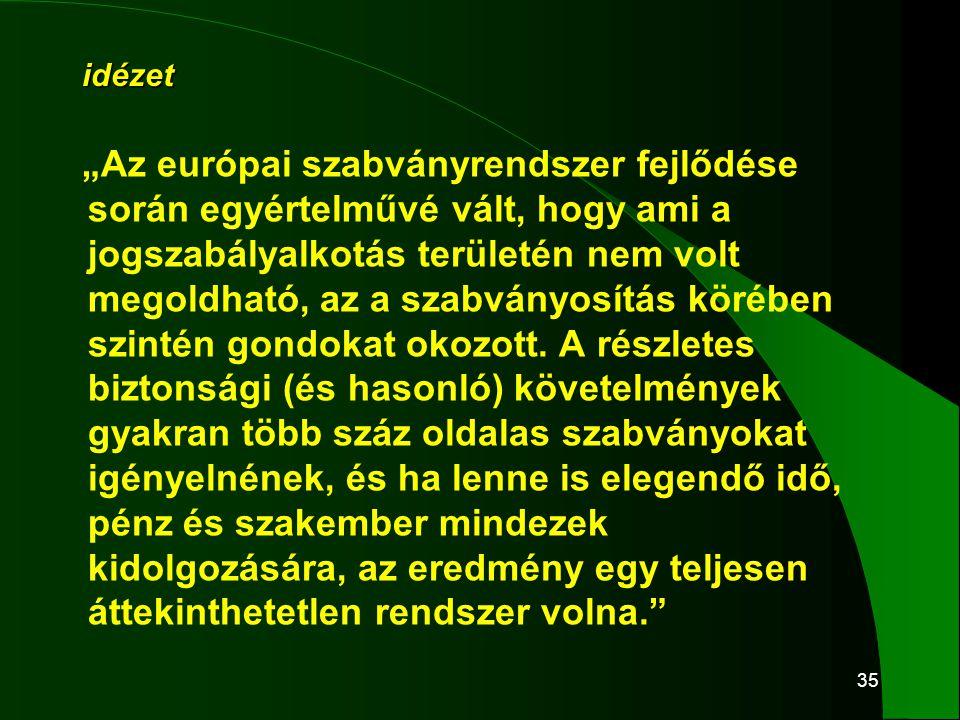 """35 idézet """"Az európai szabványrendszer fejlődése során egyértelművé vált, hogy ami a jogszabályalkotás területén nem volt megoldható, az a szabványosí"""