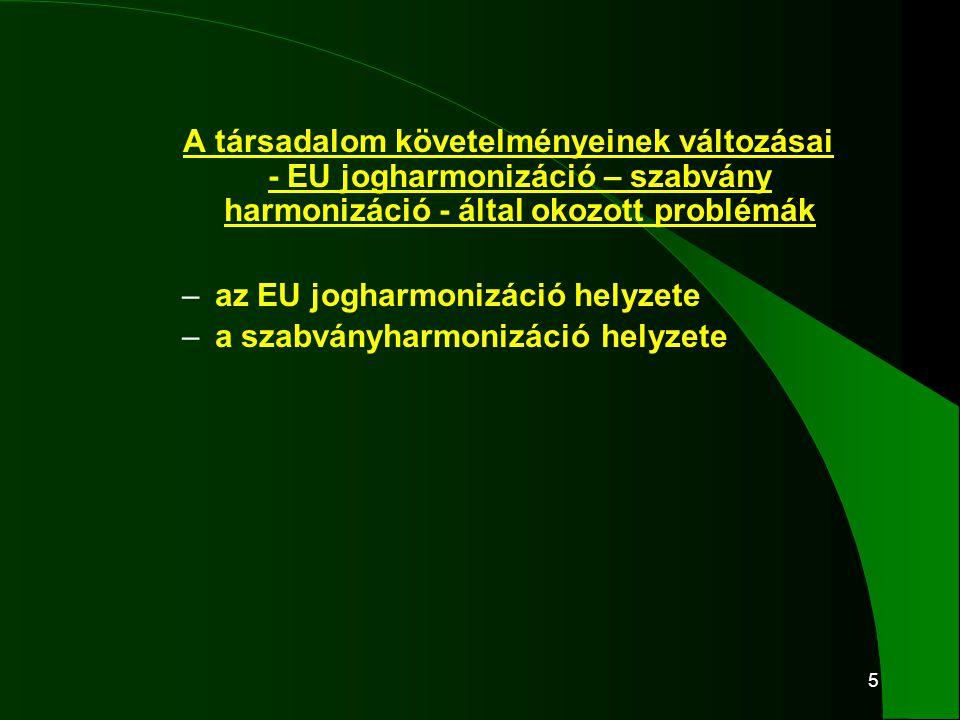 5 A társadalom követelményeinek változásai - EU jogharmonizáció – szabvány harmonizáció - által okozott problémák – az EU jogharmonizáció helyzete – a