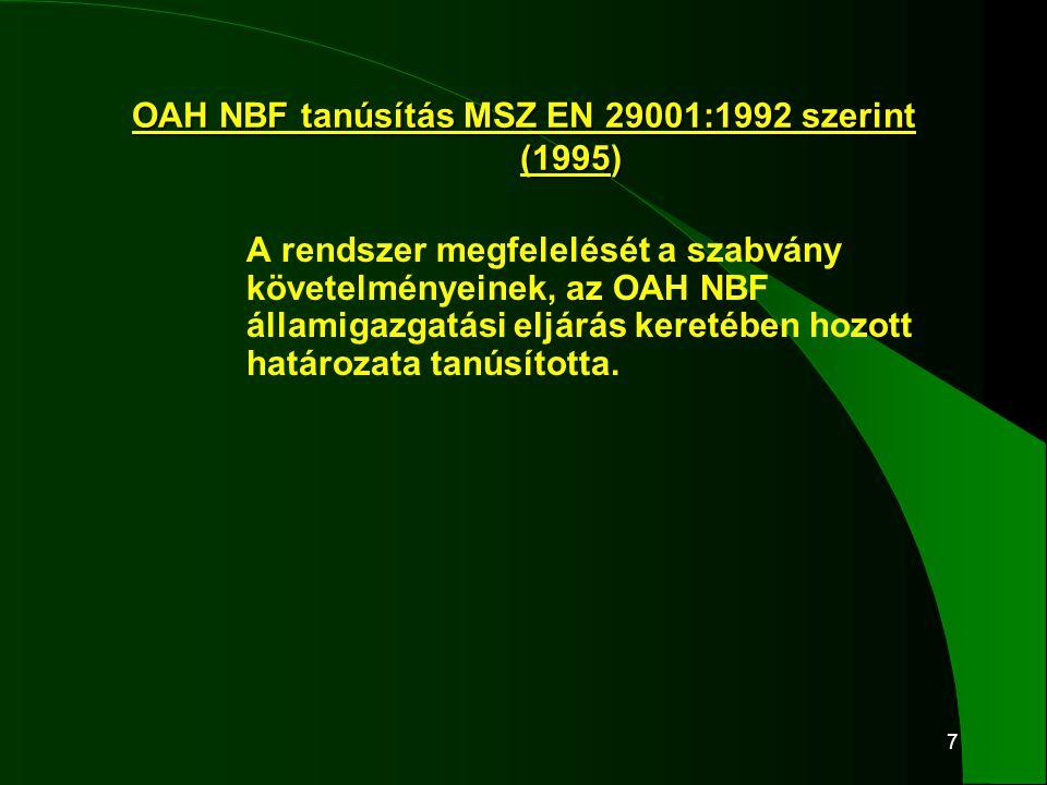 """18 MSZT TT tanúsítás 2000 júliusában MSZ EN ISO 9001:1996 szerint aAz MSZT TT a """"villamos és irányítástechnikai rendszerekkel és berendezésekkel kapcsolatos fejlesztés, tervezés, gyártás, telepítés, építés-szerelés, üzembe- helyezés, karbantartás, javítás, felújítás, valamint tartalék alkatrészek szállítása érvényességi területre, a tanúsító okiratot 503/0417 számon kiadta."""