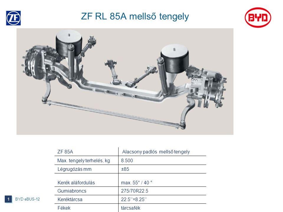 ZF RL 85A mellső tengely BYD eBUS-12 1 1 ZF 85A Alacsony padlós mellső tengely Max. tengely terhelés, kg8.500 Légrugózás mm±85 Kerék aláfordulásmax. 5