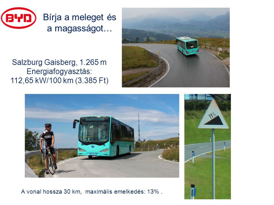 A vonal hossza 30 km, maximális emelkedés: 13%. Salzburg Gaisberg, 1.265 m Energiafogyasztás: 112,65 kW/100 km (3.385 Ft) Bírja a meleget és a magassá