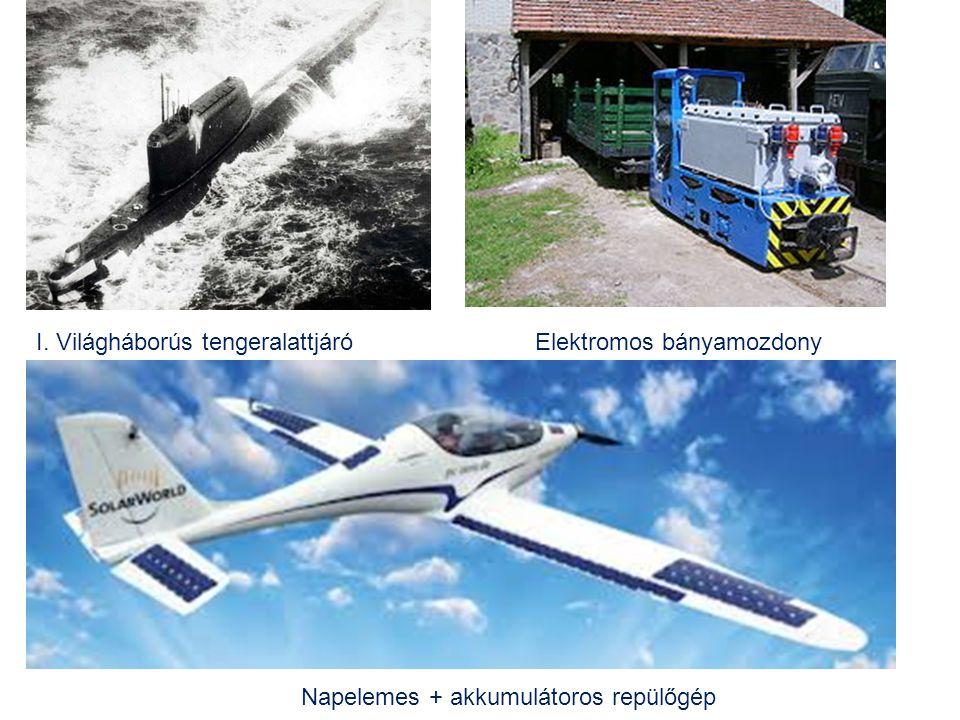I. Világháborús tengeralattjáróElektromos bányamozdony Napelemes + akkumulátoros repülőgép