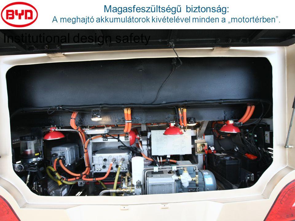 """Magasfeszültségű biztonság: A meghajtó akkumulátorok kivételével minden a """"motortérben"""". Institutional design safety"""