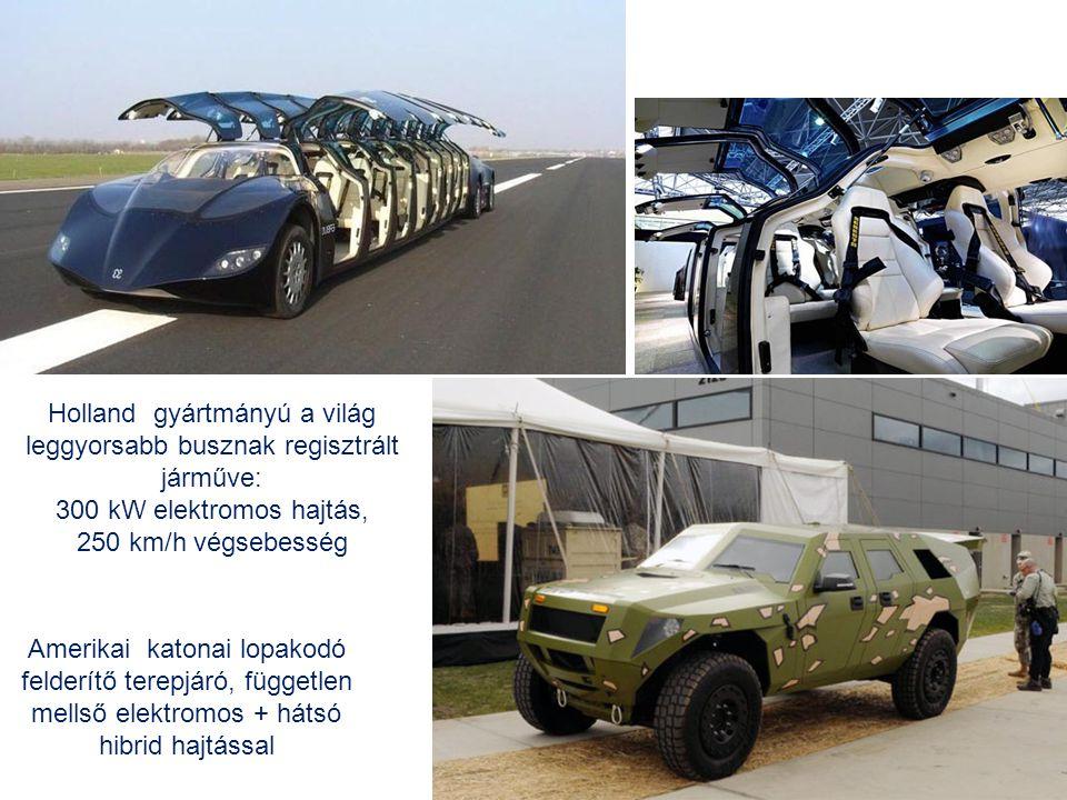 Holland gyártmányú a világ leggyorsabb busznak regisztrált járműve: 300 kW elektromos hajtás, 250 km/h végsebesség Amerikai katonai lopakodó felderítő