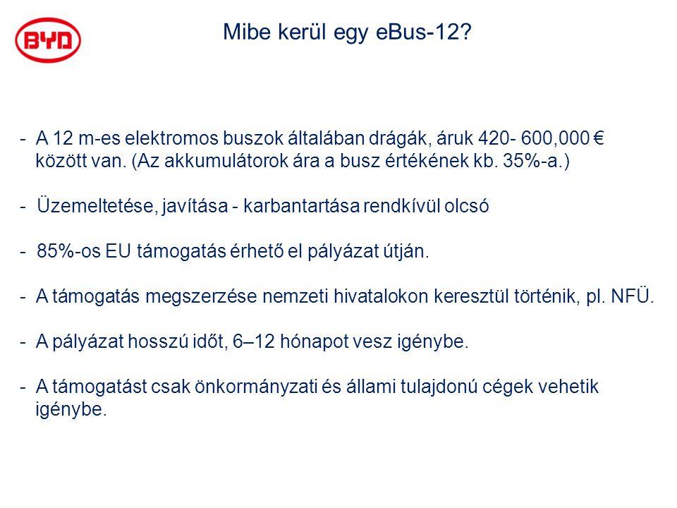 Mibe kerül egy eBus-12? - A 12 m-es elektromos buszok általában drágák, áruk 420- 600,000 € között van. (Az akkumulátorok ára a busz értékének kb. 35%