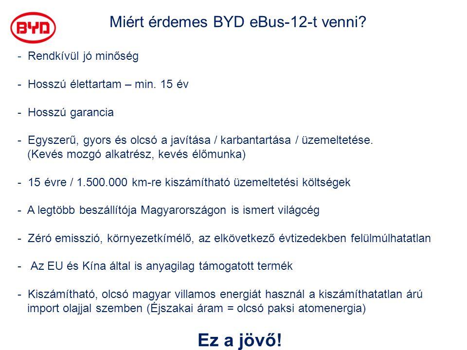 Miért érdemes BYD eBus-12-t venni? - Rendkívül jó minőség - Hosszú élettartam – min. 15 év - Hosszú garancia - Egyszerű, gyors és olcsó a javítása / k