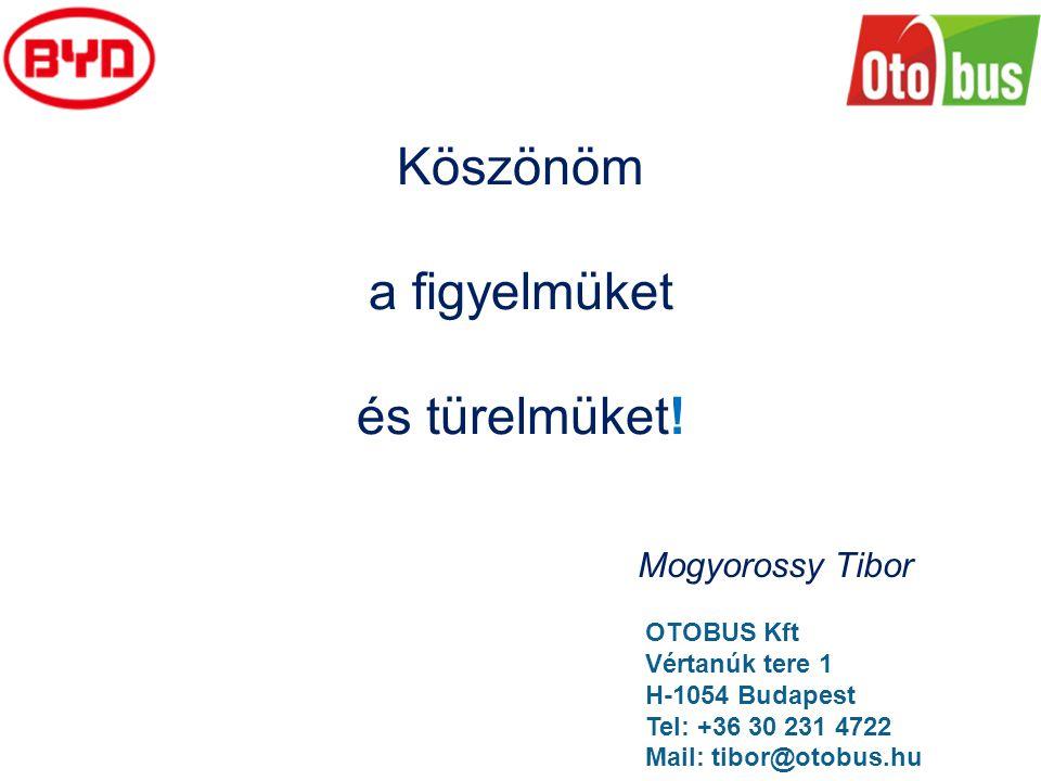 Köszönöm a figyelmüket és türelmüket! Mogyorossy Tibor OTOBUS Kft Vértanúk tere 1 H-1054 Budapest Tel: +36 30 231 4722 Mail: tibor@otobus.hu