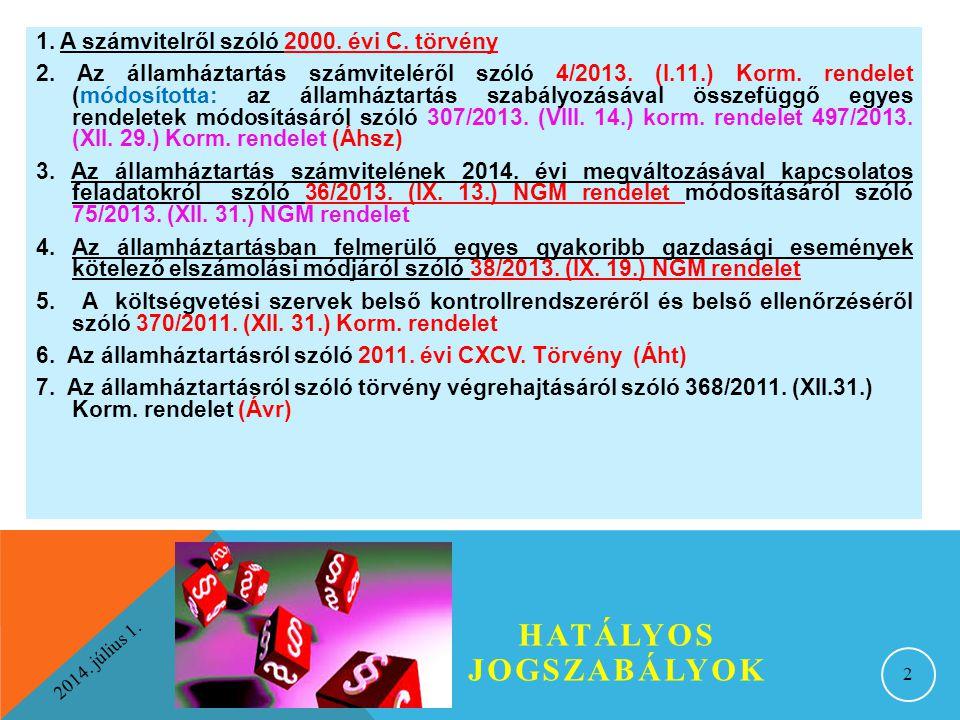 2014. július 1. HATÁLYOS JOGSZABÁLYOK 2 1. A számvitelről szóló 2000. évi C. törvény 2. Az államháztartás számviteléről szóló 4/2013. (I.11.) Korm. re
