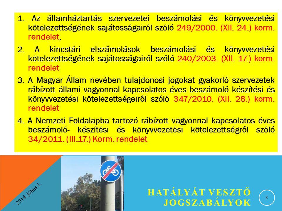 2014. július 1. HATÁLYÁT VESZTŐ JOGSZABÁLYOK 3 1. Az államháztartás szervezetei beszámolási és könyvvezetési kötelezettségének sajátosságairól szóló 2
