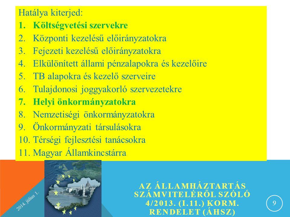 2014.július 1. MÉRLEG 20 ESZKÖZÖK A) NEMZETI VAGYONBA TARTOZÓ BEFEKTETETT ESZKÖZÖK I.