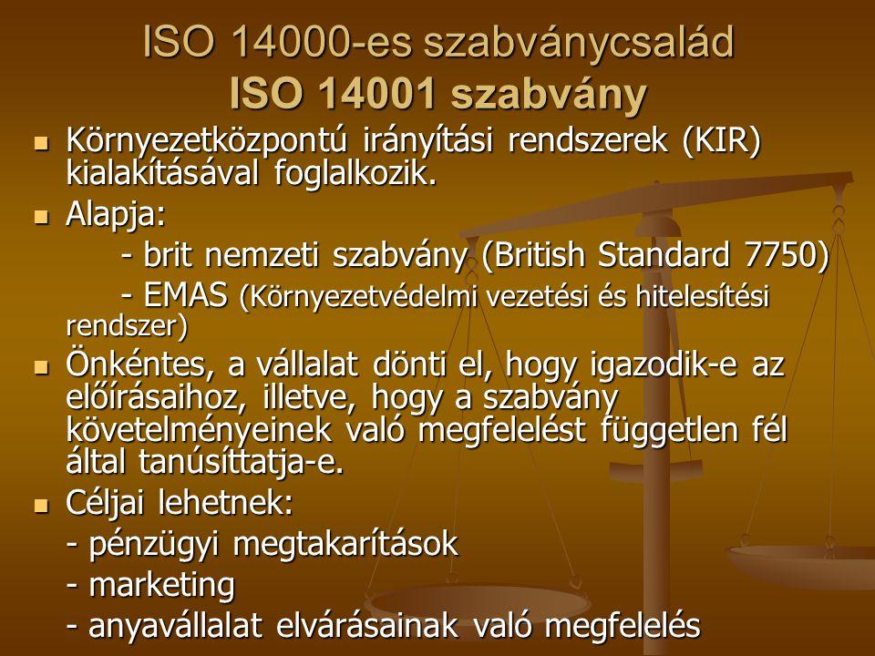 ISO 14000-es szabványcsalád ISO 14001 szabvány  Környezetközpontú irányítási rendszerek (KIR) kialakításával foglalkozik.  Alapja: - brit nemzeti sz