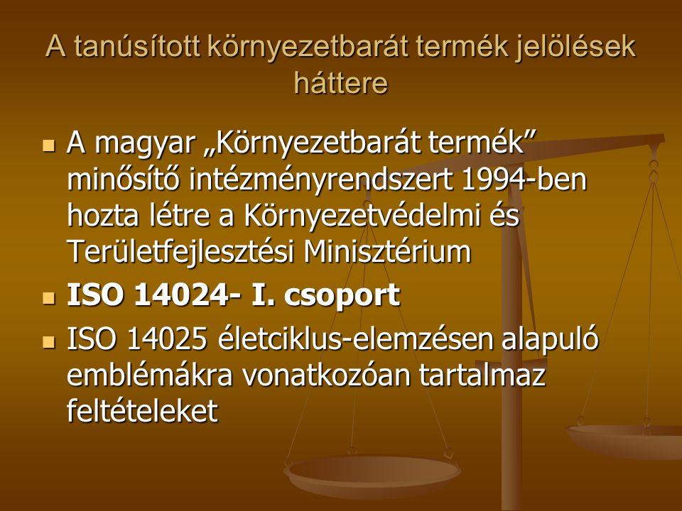 """A tanúsított környezetbarát termék jelölések háttere  A magyar """"Környezetbarát termék"""" minősítő intézményrendszert 1994-ben hozta létre a Környezetvé"""