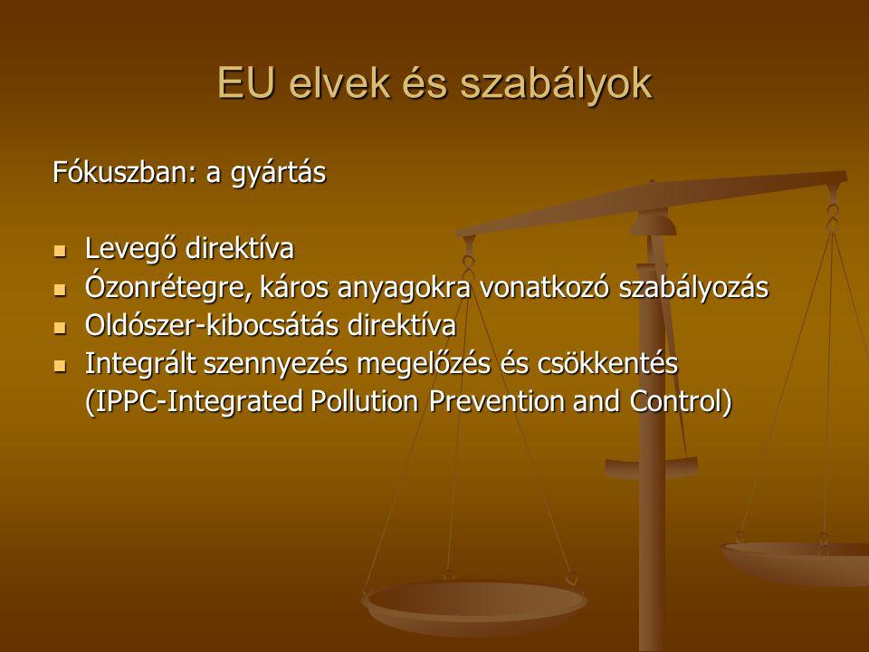 EU elvek és szabályok Fókuszban: a gyártás  Levegő direktíva  Ózonrétegre, káros anyagokra vonatkozó szabályozás  Oldószer-kibocsátás direktíva  I