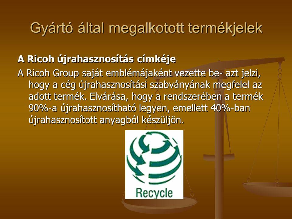 A Ricoh újrahasznosítás címkéje A Ricoh Group saját emblémájaként vezette be- azt jelzi, hogy a cég újrahasznosítási szabványának megfelel az adott te