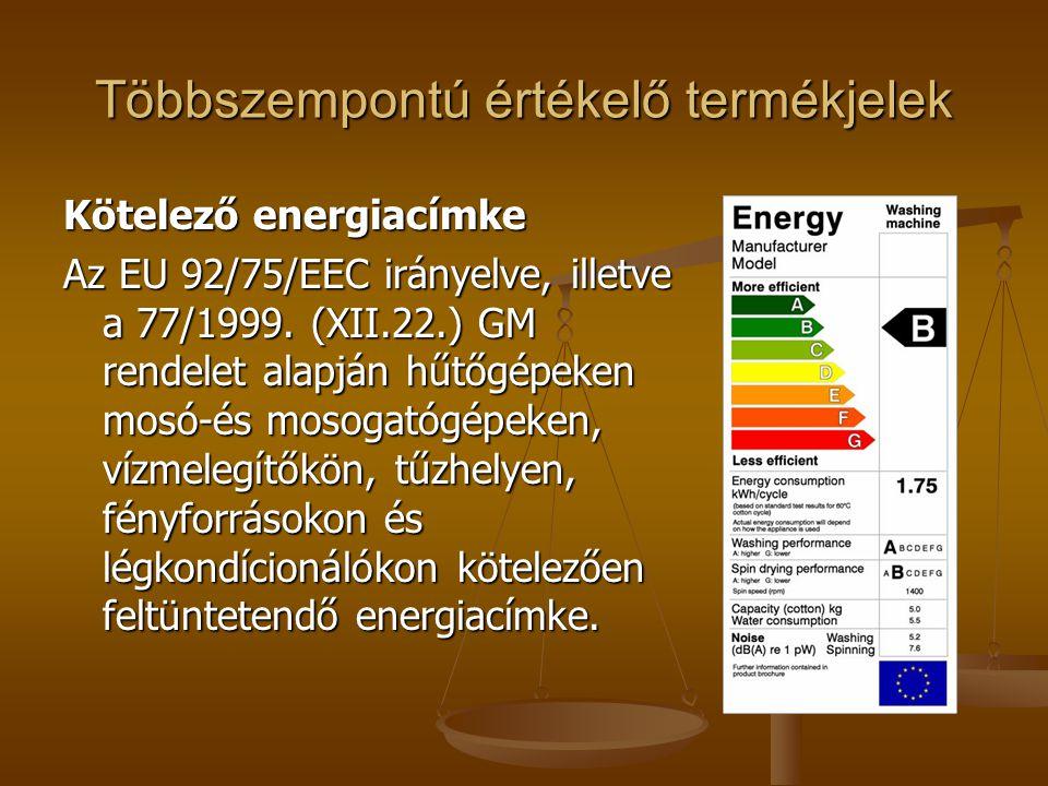 Többszempontú értékelő termékjelek Kötelező energiacímke Az EU 92/75/EEC irányelve, illetve a 77/1999. (XII.22.) GM rendelet alapján hűtőgépeken mosó-