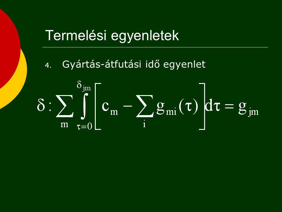 Termelési egyenletek 3. Kapacitás-szükséglet egyenlet