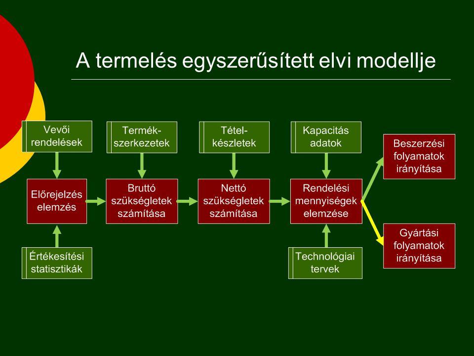 A termeléshez kapcsológó folyamatok  Vállalat = rendszer  Vállalati működés = folyamat  anyagi folyamatok  fizikai, kémiai, biológiai, stb.