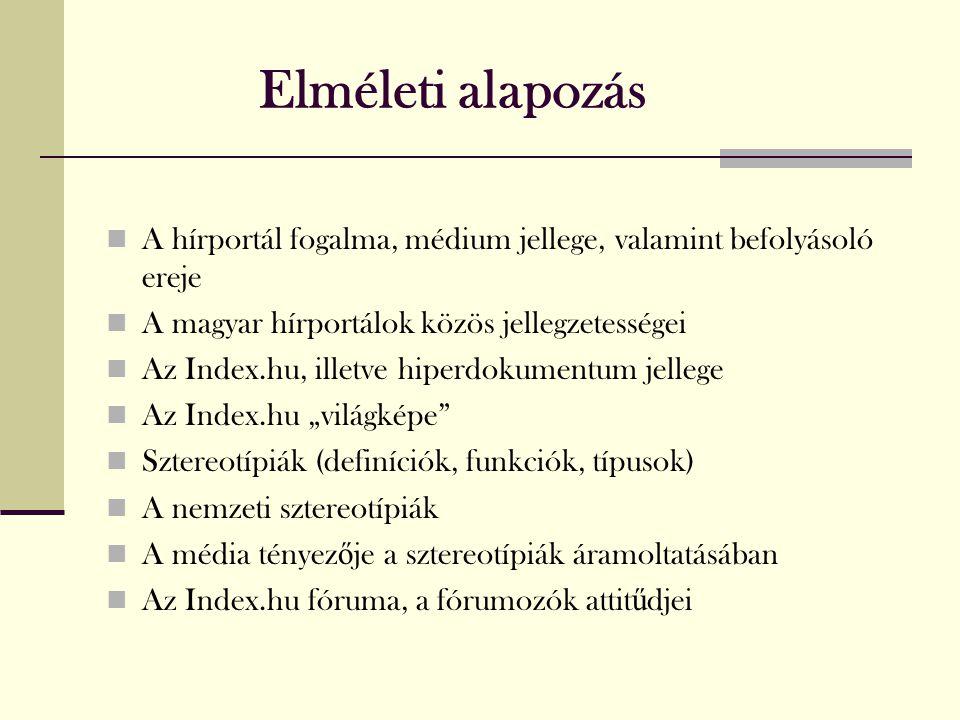 """Elméleti alapozás  A hírportál fogalma, médium jellege, valamint befolyásoló ereje  A magyar hírportálok közös jellegzetességei  Az Index.hu, illetve hiperdokumentum jellege  Az Index.hu """"világképe  Sztereotípiák (definíciók, funkciók, típusok)  A nemzeti sztereotípiák  A média tényez ő je a sztereotípiák áramoltatásában  Az Index.hu fóruma, a fórumozók attit ű djei"""