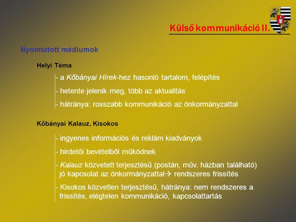 Külső kommunikáció II. Nyomtatott médiumok Helyi Téma - a Kőbányai Hírek-hez hasonló tartalom, felépítés - hetente jelenik meg, több az aktualitás - h