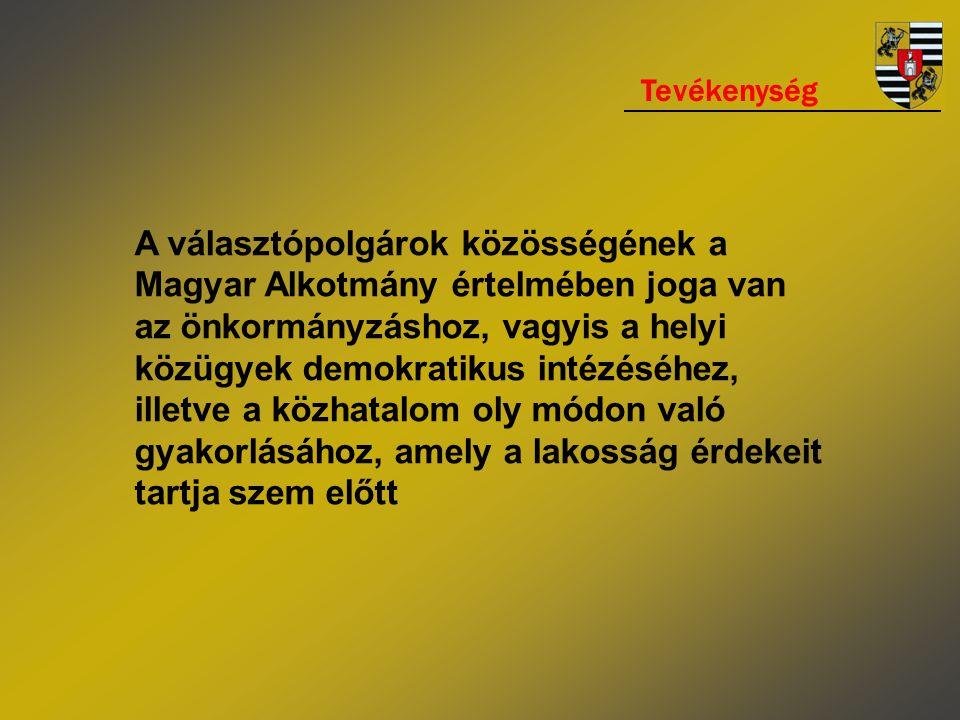 Tevékenység A választópolgárok közösségének a Magyar Alkotmány értelmében joga van az önkormányzáshoz, vagyis a helyi közügyek demokratikus intézéséhez, illetve a közhatalom oly módon való gyakorlásához, amely a lakosság érdekeit tartja szem előtt