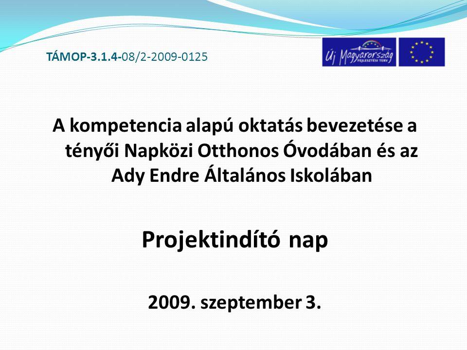 TÁMOP-3.1.4-08/2-2009-0125 RÉSZTVEVŐ FELADATELLÁTÁSI HELYEK: - óvoda - iskola ÉRVEK: - Komplex módon segíteni a minőségi oktatás elterjesztését - Az infrastruktúra fejlesztés tartalmi fejlesztéssel párosuljon (nyertes NYDOP, TIOP pályázatok)