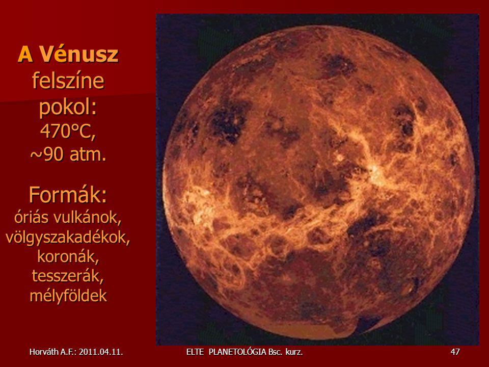 Horváth A.F.: 2011.04.11.ELTE PLANETOLÓGIA Bsc.kurz.47 A Vénusz felszíne pokol: 470°C, ~90 atm.