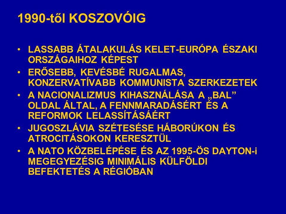 """1990-től KOSZOVÓIG •LASSABB ÁTALAKULÁS KELET-EURÓPA ÉSZAKI ORSZÁGAIHOZ KÉPEST •ERŐSEBB, KEVÉSBÉ RUGALMAS, KONZERVATÍVABB KOMMUNISTA SZERKEZETEK •A NACIONALIZMUS KIHASZNÁLÁSA A """"BAL OLDAL ÁLTAL, A FENNMARADÁSÉRT ÉS A REFORMOK LELASSÍTÁSÁÉRT •JUGOSZLÁVIA SZÉTESÉSE HÁBORÚKON ÉS ATROCITÁSOKON KERESZTÜL •A NATO KÖZBELÉPÉSE ÉS AZ 1995-ÖS DAYTON-i MEGEGYEZÉSIG MINIMÁLIS KÜLFÖLDI BEFEKTETÉS A RÉGIÓBAN"""
