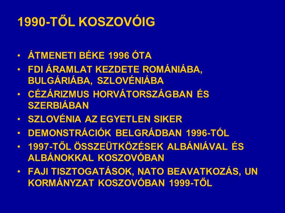 1990-TŐL KOSZOVÓIG •ÁTMENETI BÉKE 1996 ÓTA •FDI ÁRAMLAT KEZDETE ROMÁNIÁBA, BULGÁRIÁBA, SZLOVÉNIÁBA •CÉZÁRIZMUS HORVÁTORSZÁGBAN ÉS SZERBIÁBAN •SZLOVÉNIA AZ EGYETLEN SIKER •DEMONSTRÁCIÓK BELGRÁDBAN 1996-TÓL •1997-TŐL ÖSSZEÜTKÖZÉSEK ALBÁNIÁVAL ÉS ALBÁNOKKAL KOSZOVÓBAN •FAJI TISZTOGATÁSOK, NATO BEAVATKOZÁS, UN KORMÁNYZAT KOSZOVÓBAN 1999-TŐL