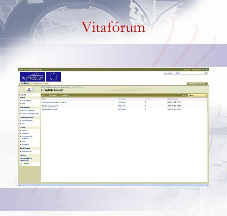 Egyéb funkciók •Hivatkozáslista •Egyéni lista •Egyszerű lap •e-mail értesítés