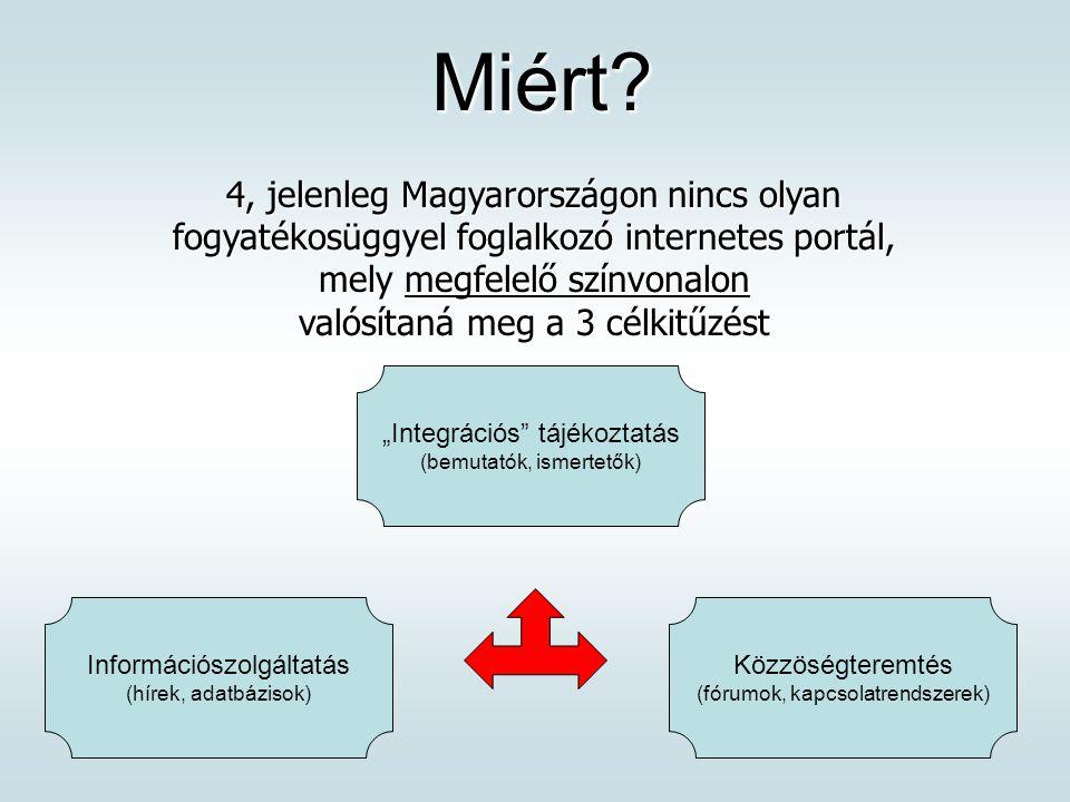 Miért? Miért? 4, jelenleg Magyarországon nincs olyan fogyatékosüggyel foglalkozó internetes portál, mely megfelelő színvonalon valósítaná meg a 3 célk