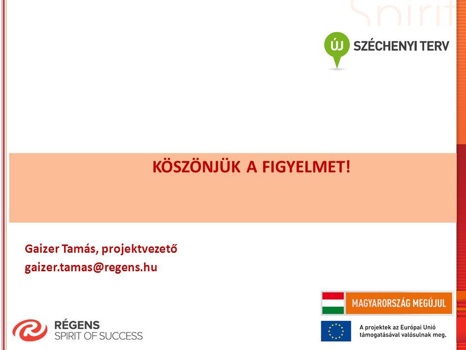 KÖSZÖNJÜK A FIGYELMET! Gaizer Tamás, projektvezető gaizer.tamas@regens.hu