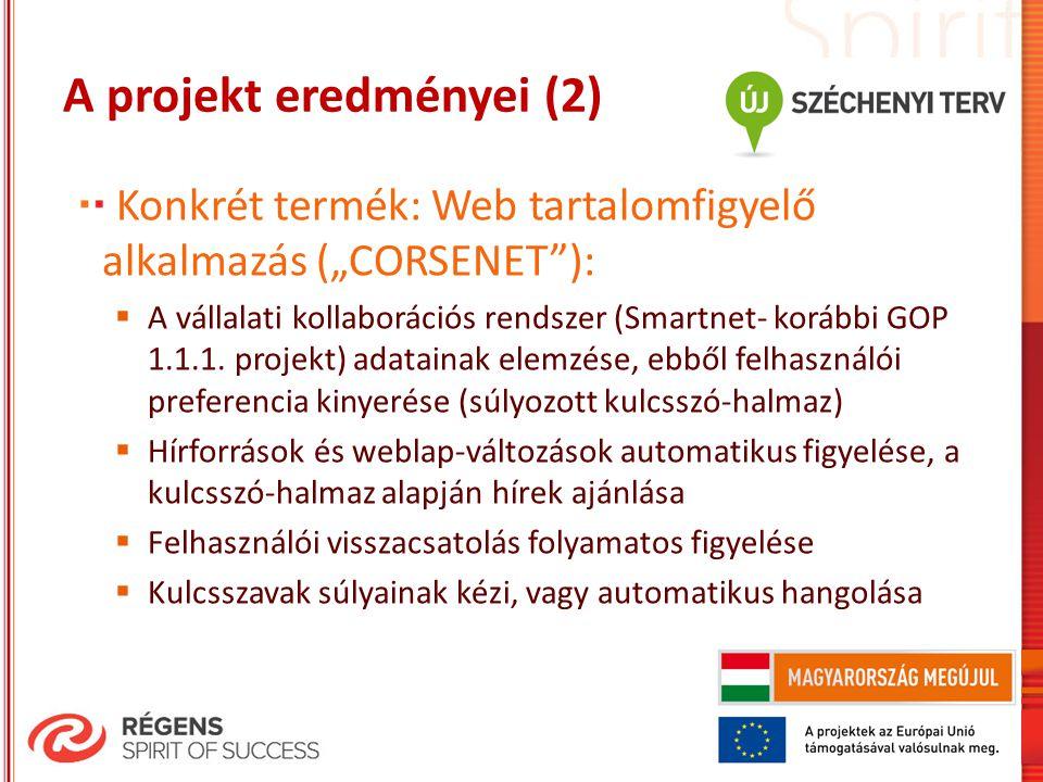 """A projekt eredményei (2) Konkrét termék: Web tartalomfigyelő alkalmazás (""""CORSENET""""):  A vállalati kollaborációs rendszer (Smartnet- korábbi GOP 1.1."""