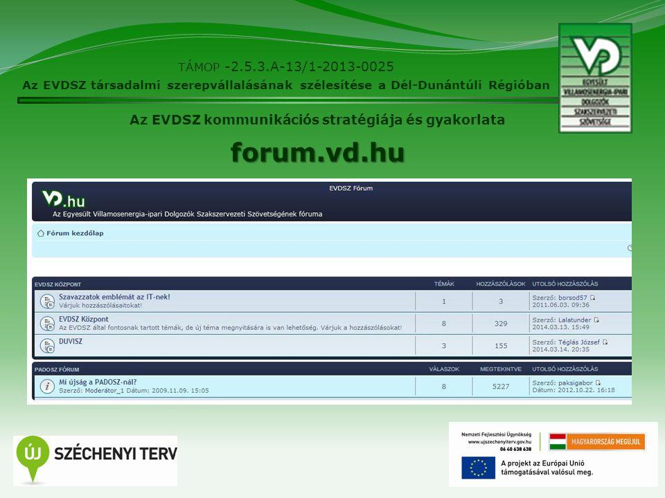 10 TÁMOP -2.5.3.A-13/1-2013-0025 Az EVDSZ társadalmi szerepvállalásának szélesítése a Dél-Dunántúli Régióban Az EVDSZ kommunikációs stratégiája és gya