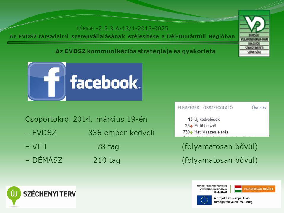 12 TÁMOP -2.5.3.A-13/1-2013-0025 Az EVDSZ társadalmi szerepvállalásának szélesítése a Dél-Dunántúli Régióban Az EVDSZ kommunikációs stratégiája és gya