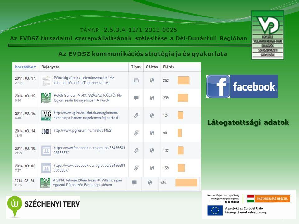 13 TÁMOP -2.5.3.A-13/1-2013-0025 Az EVDSZ társadalmi szerepvállalásának szélesítése a Dél-Dunántúli Régióban Az EVDSZ kommunikációs stratégiája és gya