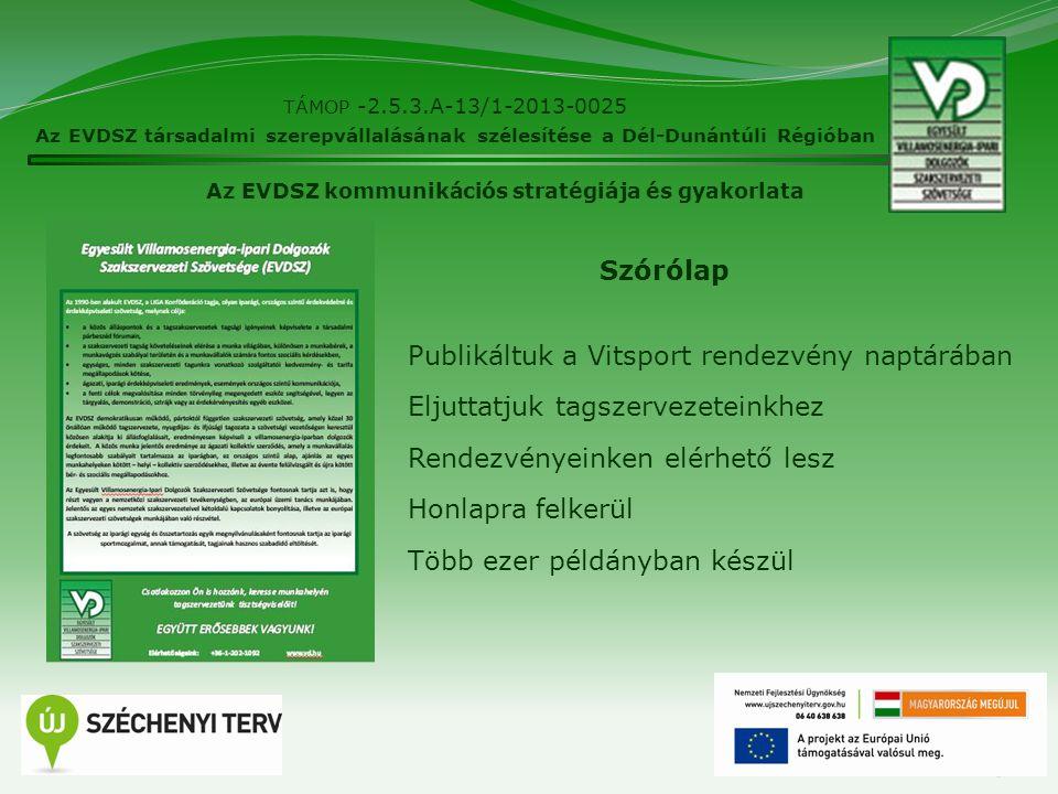 15 TÁMOP -2.5.3.A-13/1-2013-0025 Az EVDSZ társadalmi szerepvállalásának szélesítése a Dél-Dunántúli Régióban Az EVDSZ kommunikációs stratégiája és gya