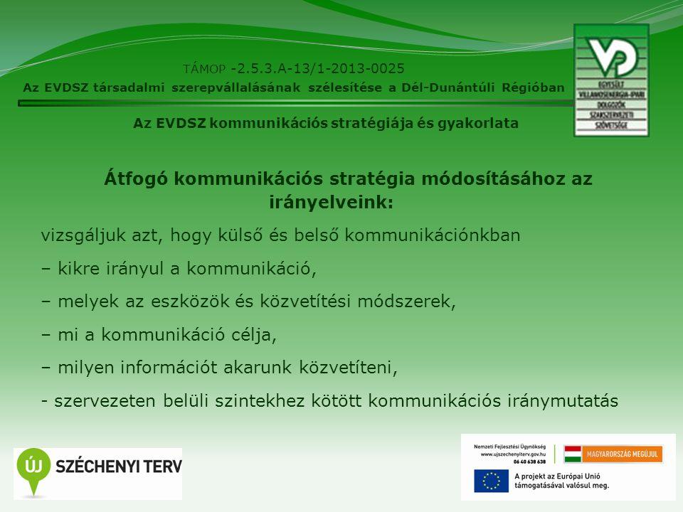 16 TÁMOP -2.5.3.A-13/1-2013-0025 Az EVDSZ társadalmi szerepvállalásának szélesítése a Dél-Dunántúli Régióban Az EVDSZ kommunikációs stratégiája és gya