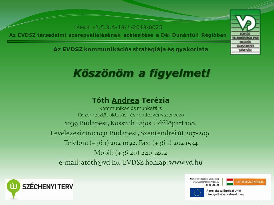 19 TÁMOP -2.5.3.A-13/1-2013-0025 Az EVDSZ társadalmi szerepvállalásának szélesítése a Dél-Dunántúli Régióban Az EVDSZ kommunikációs stratégiája és gya