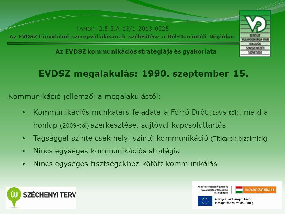 2 TÁMOP -2.5.3.A-13/1-2013-0025 Az EVDSZ társadalmi szerepvállalásának szélesítése a Dél-Dunántúli Régióban Az EVDSZ kommunikációs stratégiája és gyak