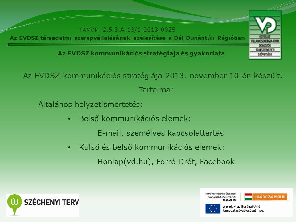 3 TÁMOP -2.5.3.A-13/1-2013-0025 Az EVDSZ társadalmi szerepvállalásának szélesítése a Dél-Dunántúli Régióban Az EVDSZ kommunikációs stratégiája és gyak