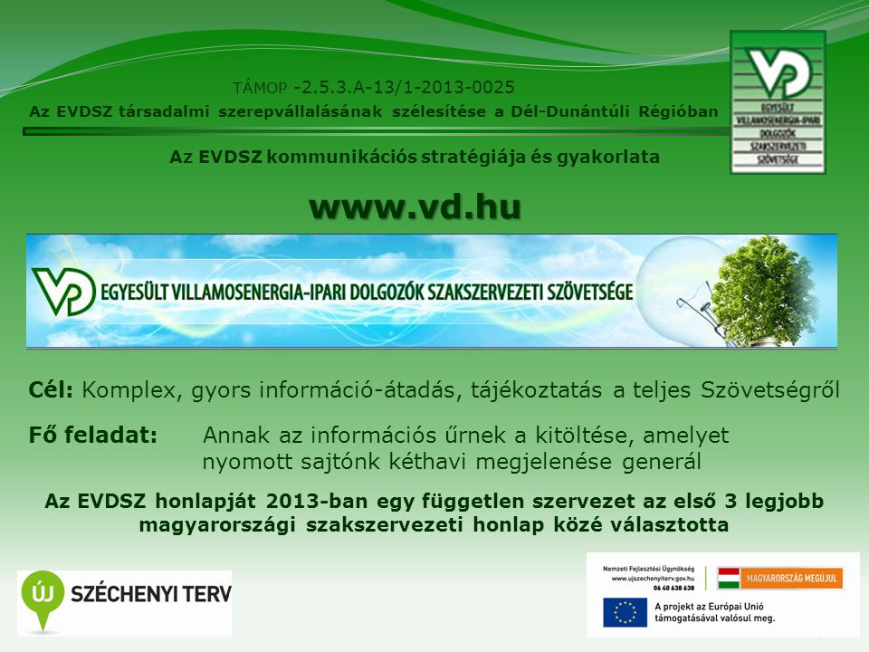 7 TÁMOP -2.5.3.A-13/1-2013-0025 Az EVDSZ társadalmi szerepvállalásának szélesítése a Dél-Dunántúli Régióban Az EVDSZ kommunikációs stratégiája és gyak