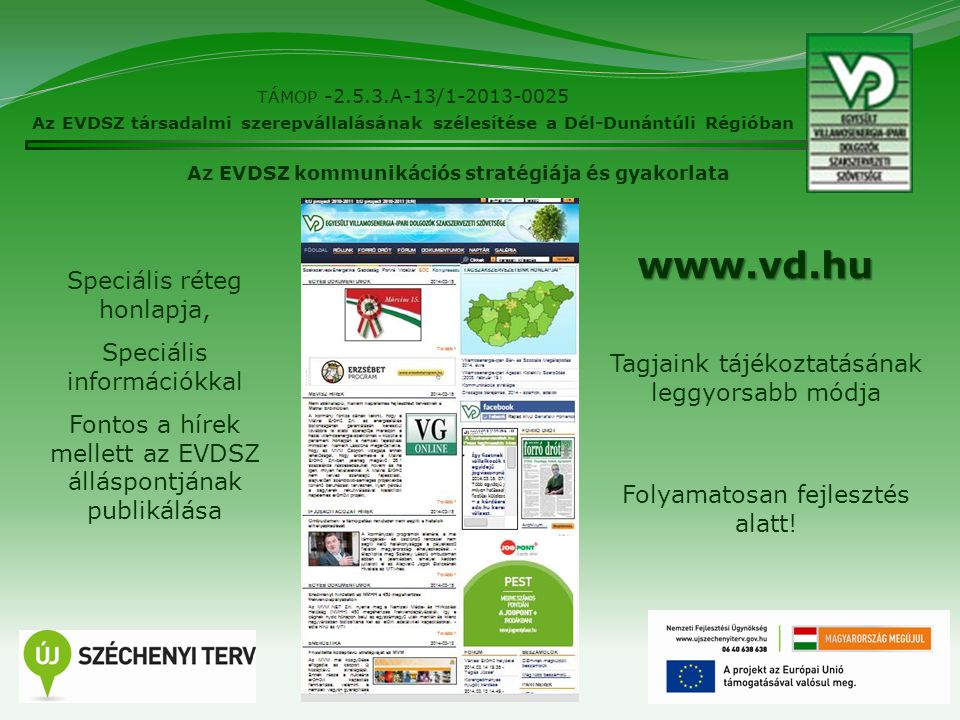 8 TÁMOP -2.5.3.A-13/1-2013-0025 Az EVDSZ társadalmi szerepvállalásának szélesítése a Dél-Dunántúli Régióban Az EVDSZ kommunikációs stratégiája és gyak