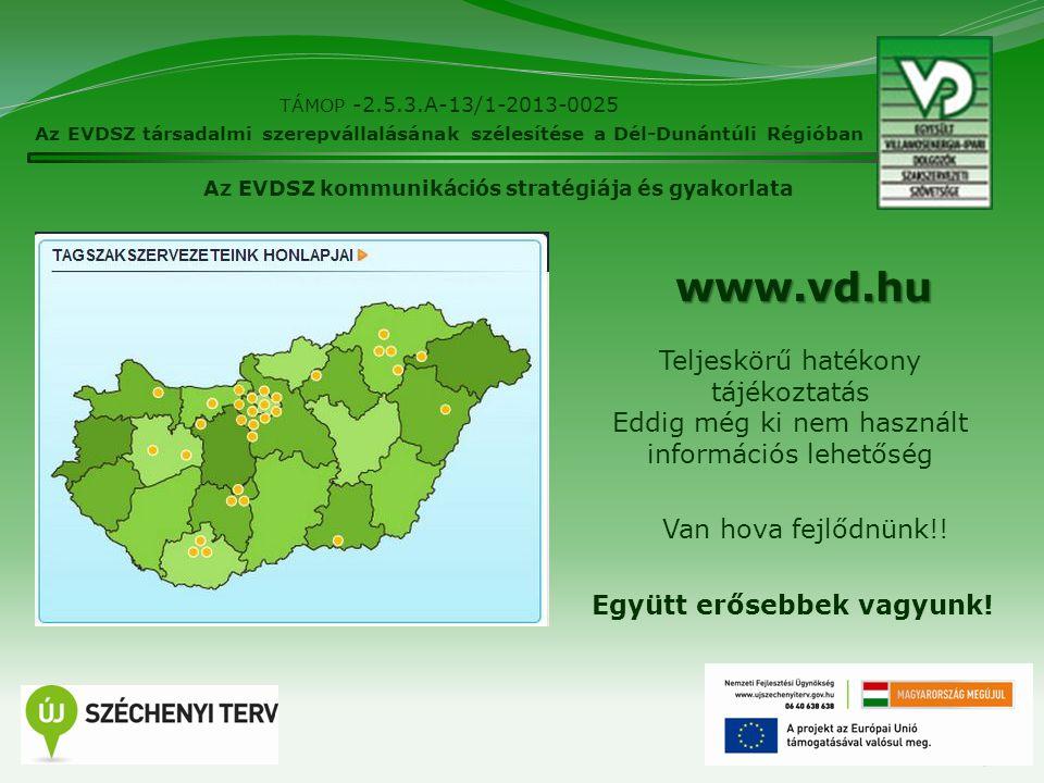 9 TÁMOP -2.5.3.A-13/1-2013-0025 Az EVDSZ társadalmi szerepvállalásának szélesítése a Dél-Dunántúli Régióban Az EVDSZ kommunikációs stratégiája és gyak