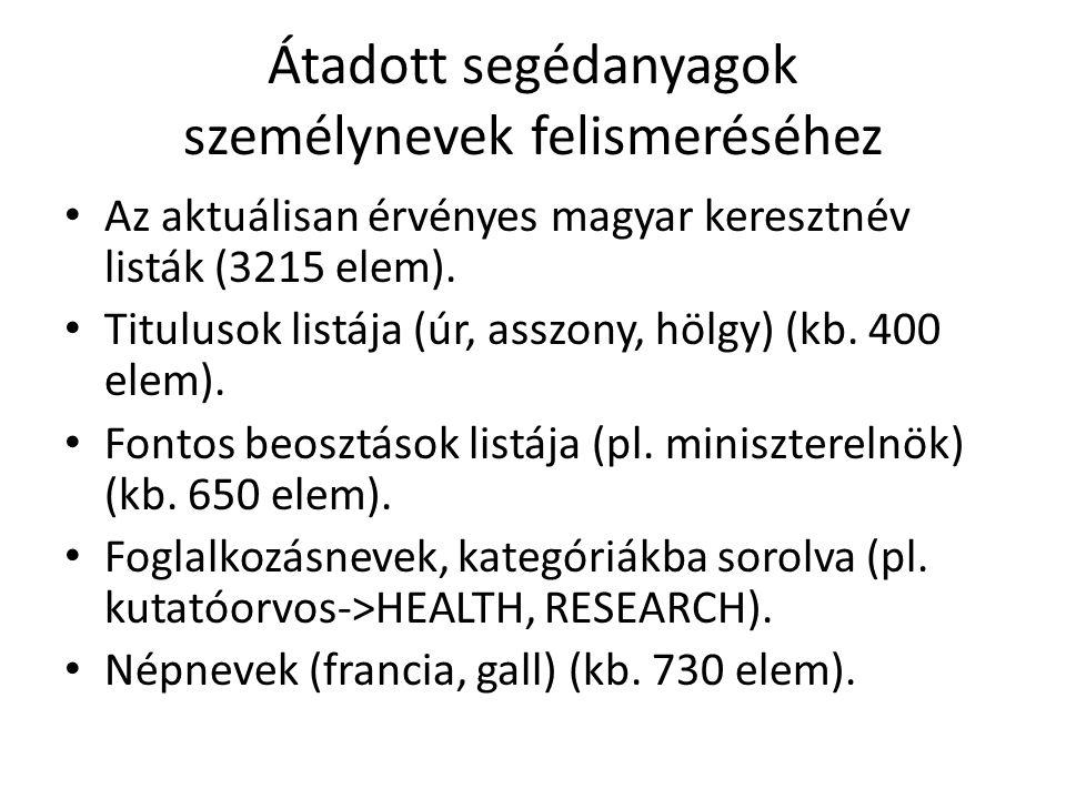 Átadott segédanyagok személynevek felismeréséhez • Az aktuálisan érvényes magyar keresztnév listák (3215 elem). • Titulusok listája (úr, asszony, hölg