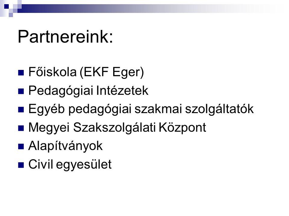Partnereink:  Főiskola (EKF Eger)  Pedagógiai Intézetek  Egyéb pedagógiai szakmai szolgáltatók  Megyei Szakszolgálati Központ  Alapítványok  Civ