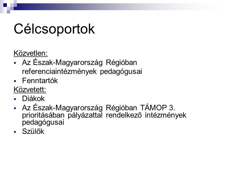 Célcsoportok Közvetlen:  Az Észak-Magyarország Régióban referenciaintézmények pedagógusai  Fenntartók Közvetett:  Diákok  Az Észak-Magyarország Ré