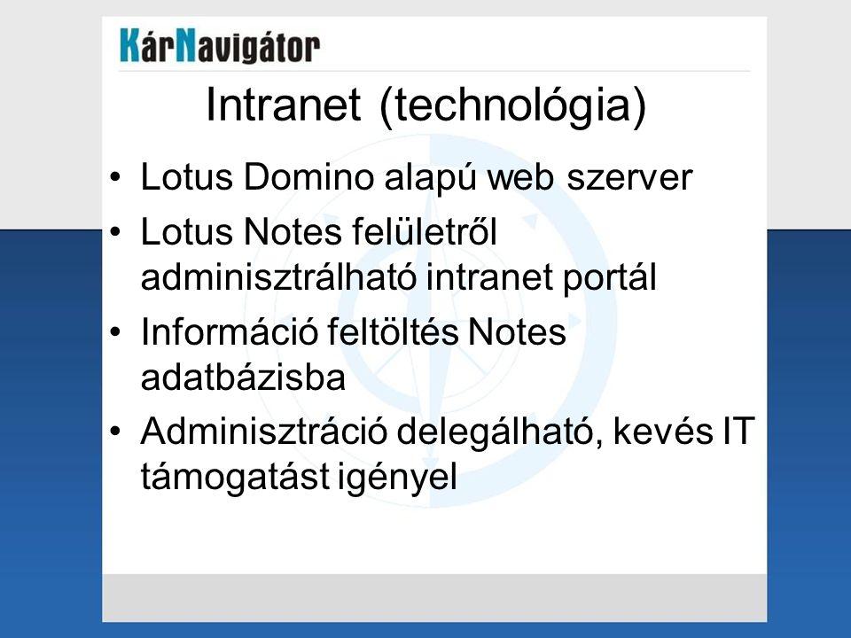 Intranet (technológia) •Lotus Domino alapú web szerver •Lotus Notes felületről adminisztrálható intranet portál •Információ feltöltés Notes adatbázisb