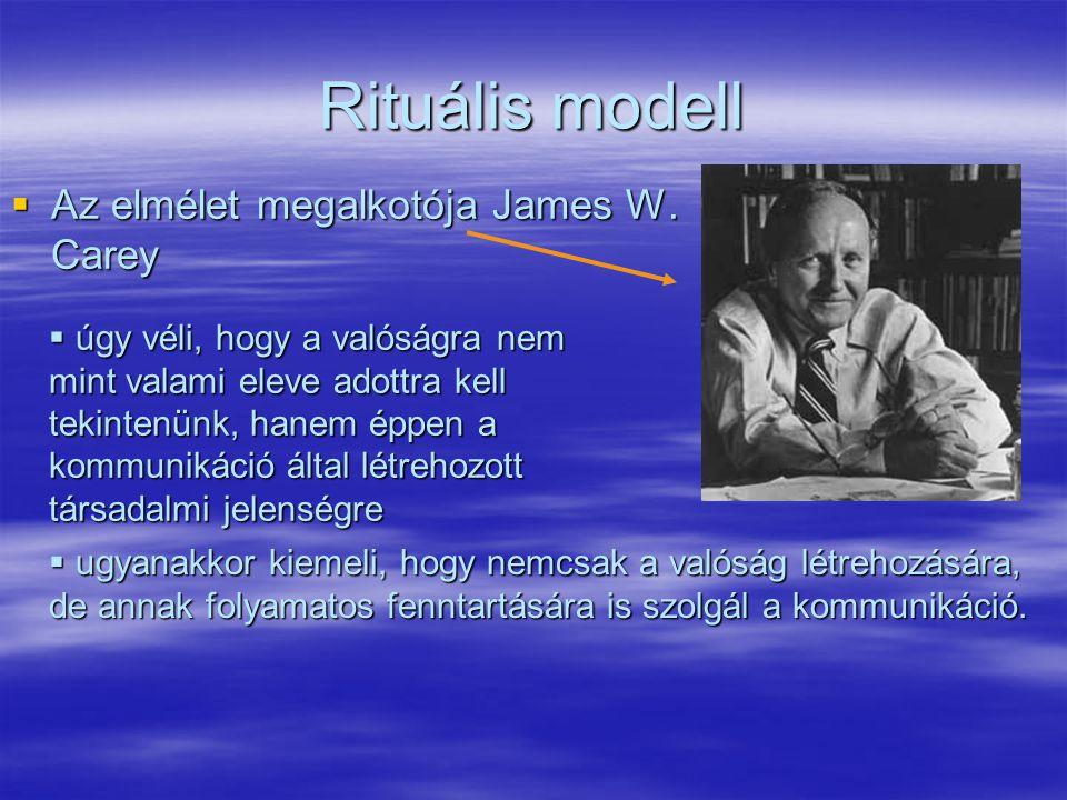 Rituális modell  Az elmélet megalkotója James W. Carey  úgy véli, hogy a valóságra nem mint valami eleve adottra kell tekintenünk, hanem éppen a kom