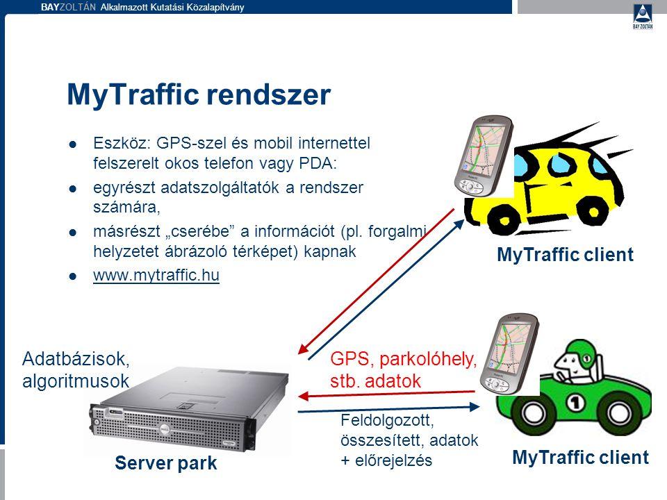 """BAYZOLTÁN Alkalmazott Kutatási Közalapítvány MyTraffic rendszer  Eszköz: GPS-szel és mobil internettel felszerelt okos telefon vagy PDA:  egyrészt adatszolgáltatók a rendszer számára,  másrészt """"cserébe a információt (pl."""