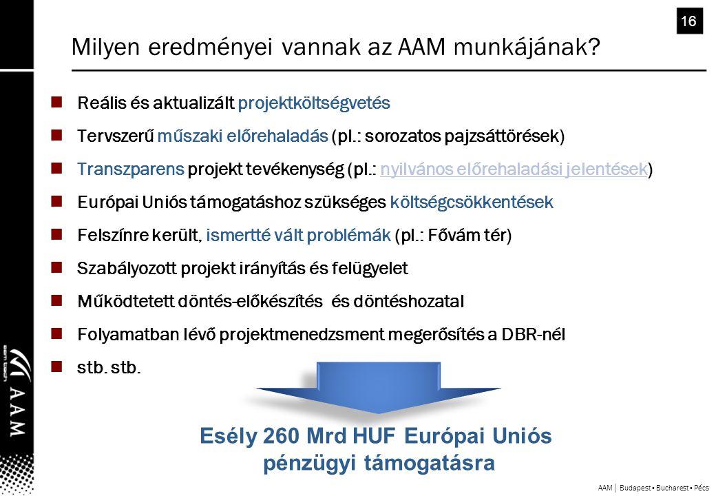 AAM│ Budapest ▪ Bucharest ▪ Pécs 16  Reális és aktualizált projektköltségvetés  Tervszerű műszaki előrehaladás (pl.: sorozatos pajzsáttörések)  Transzparens projekt tevékenység (pl.: nyilvános előrehaladási jelentések)nyilvános előrehaladási jelentések  Európai Uniós támogatáshoz szükséges költségcsökkentések  Felszínre került, ismertté vált problémák (pl.: Fővám tér)  Szabályozott projekt irányítás és felügyelet  Működtetett döntés-előkészítés és döntéshozatal  Folyamatban lévő projektmenedzsment megerősítés a DBR-nél  stb.